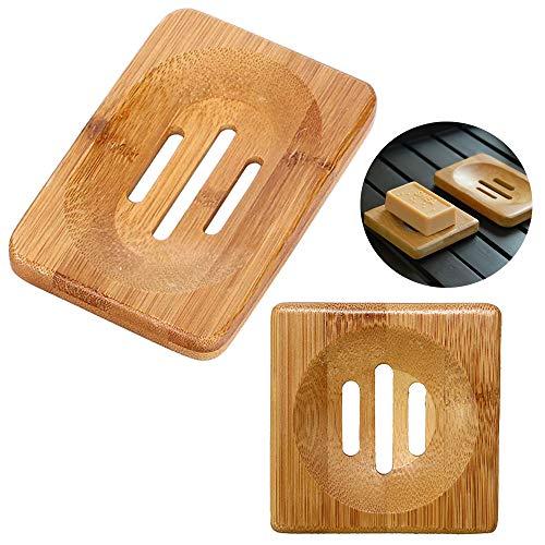 2 Stück Seifenschalen Aus Bambus Seifenschale Holz Dusche Handgefertigte Seifenkiste Seifenablage Aus Holz Natürlicher Seifenhalter Seifenschale Aus Natur Holz Für Badezimmer Dusche Küche Waschbecken