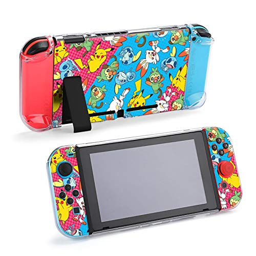 Protective Case Cover for Nintendo Switch, Cute Animal Pikachu Print Case for Nintendo Switch Split 5-Piece Switch Game Console Anti-Scratch PC Cover