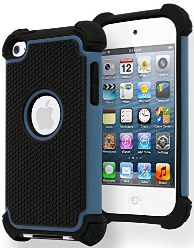 Bastex Heavy Duty Hybrid Dual Armor Case for Apple iPod Touch 4, 4th Generation - Blue & Black