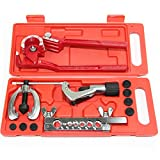 Tubing Flaring Swage Tool Kit - Heavy Duty Steel Swage Tool Set for Copper Plastic Aluminum Stainless Steel Pipe With Tubing Cutter, Tubing Bender & Ratchet Wrench