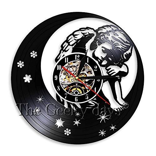 xcvbxcvb Músico Notas Musicales Colgante de Pared Arte decoración Reloj Hecho a Mano 3D Disco de Vinilo Reloj de Pared decoración del hogar 12 Pulgadas Recortado LP Reloj