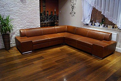 Quattro Meble Ecksofa London II RE 277 x 277 Braun Echtleder mit Ziernaht Sofa Couch mit Schlaffunktion, Bettkasten Ledersofa Echt Leder Eck Couch Ledermöbel große Farbauswahl