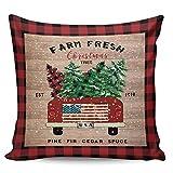 Winter Rangers Fundas de almohada decorativas, diseño retro de árbol de Navidad, tablero de madera de camión rojo ultra suave, funda de cojín cuadrada cómoda para sofá dormitorio, 50,8 x 50,8 cm