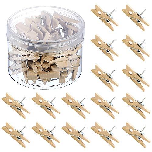 Netspower Push Pin Clips Holzklammern mit Stecknadeln, 50 Stück Holz Clips für Karten Notizen Fotos Schul Büro Handwerk