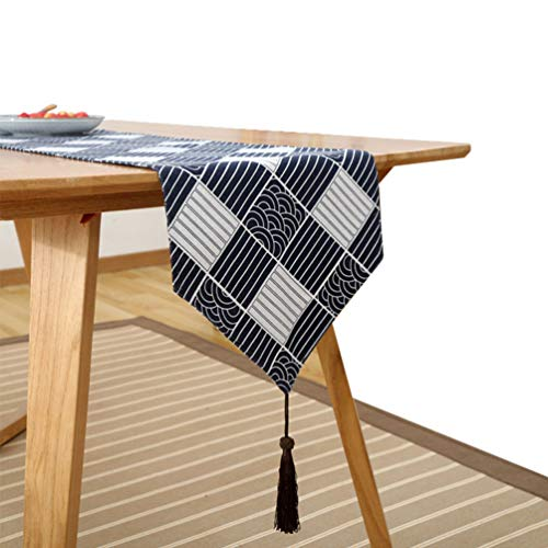 Japanese Style Printed Pattern Flax Table Runner, Perfect for Everyday Use,Tea table,Holiday Parties, Thanksgiving, Catering Events, Dinner Parties, Special Occasions...