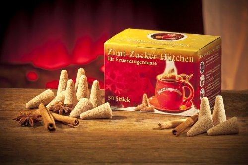 Feuerzangentasse Zimt-Zucker-Hütchen (50 Stück) Original Zimtzuckerhütchen für Feuerzangenbowle
