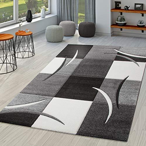 TT Home Tappeto di Design con Taglio Sagomato e Motivo a Quadri in Nero, Bianco e Grigio, Größe:160x230 cm