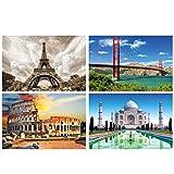 GREAT ART Juego de 4 pósteres XXL con motivos – edificios famosos – Taj Mahal Colosseum Roma Golden Gate Puente Eiffel Torre Eiffel París – Decoración interior póster póster 140 x 100 cm