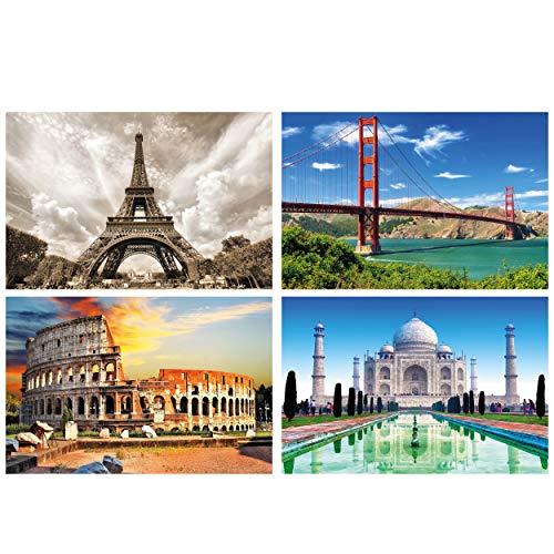 GREAT ART® Juego de 4 pósteres XXL con Motivos - Edificios Famosos - Taj Mahal Coliseo Puente Golden Gate de Roma Torre Eiffel París Cuadro Decor Interior 140 x 100 cm
