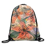uykjuykj Bolsos De Gimnasio,Mochilas,Men Women Outdoor Sport Gym Sack Grunge Flower Waterproof Drawstring Backpack Bag Grunge flower9 Lightweight Unique 17x14 IN