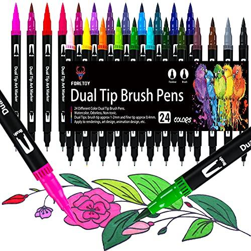 Brush Pen 24 colori Pennarelli Lettering, Dual Brush Pen con Punta Fine da 0,4 mm e 1-2mm Punta Brush, Penne da Colorare ad Acquerello per Adulti Bullet Journal, Lettering, Mandala e Disegnare
