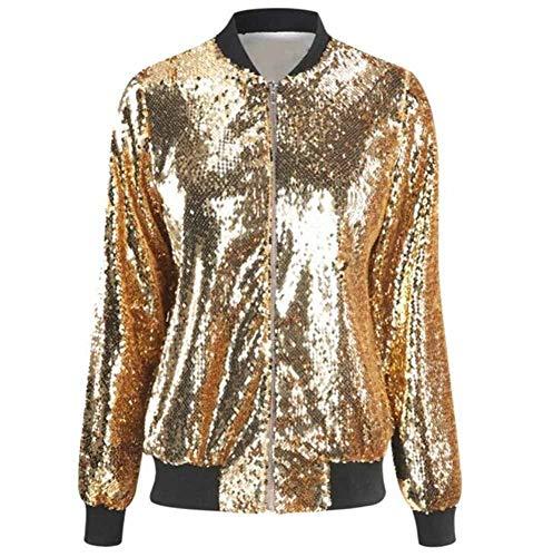 Hibasing Womens Ladies New Multicolor Pailletten Glitter Blazer Sparkly Rib Cuff Zip vorne leichte Bomberjacke Mantel