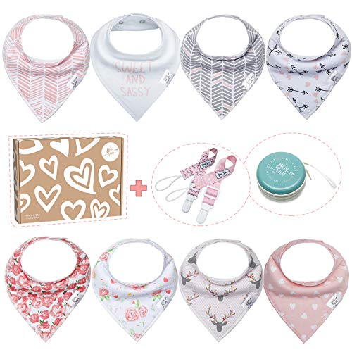 FUTURE FOUNDER Babygeschenke zur geburt mädchen Baby Dreieckstuch 8er Lätzchen mit Bandana-Design, 8 Stück, mit 1 multifunktionaler Tasche, tolles Geschenk für Jungen/Mädchen, Unisex