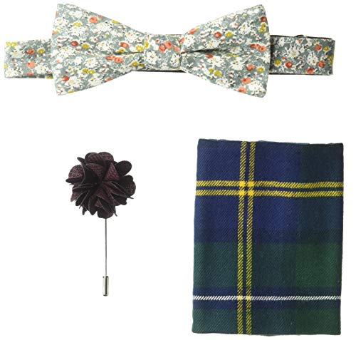 Original Penguin Men's 3-Piece Bowtie, Pocket Square & Lapel Pin Box Set, Green, One Size