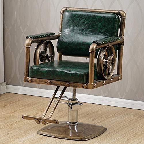 MOye Sillas de Barbero 200kg Silla de Peluquería Hidráulica PU Cuero Silla de Peluquería Hydraulic Barber Chair para SPA (Retro Forma de Rueda),A3