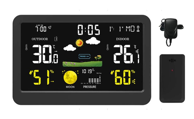モザイク月面喉頭カラーウェザーステーション、多機能ワイヤレスカラースクリーンウェザークロック、屋内外の温度と湿度計、天気予報時??計