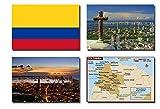 CFL SET OF 4 COLOMBIA CALAMITA DA FRIGO IMANES PARA NEVERA – COLOMBIA FLAG, COLOMBIA MAP, USA ATTRACTIONS FRIDGE MAGNET