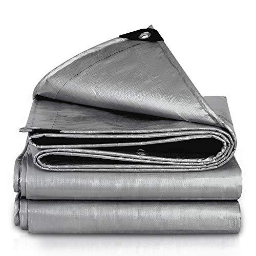 QHGao waterdicht stofzeil, outdoor stof, waterdicht, zonwering, dikte oliedoek, zonwering, luifel, kunststof baldakijn isolatie, zware dik materiaal (zilver)
