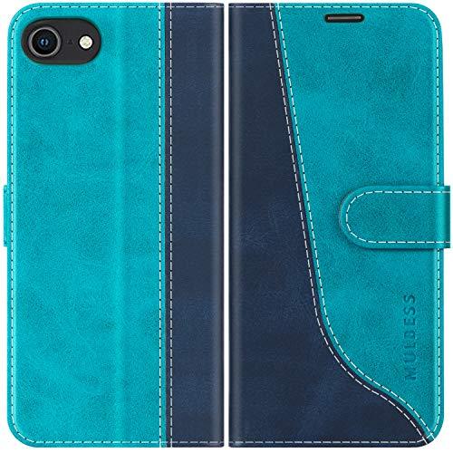 Mulbess Handyhülle für iPhone SE 2020 Hülle Leder, iPhone 8 Hülle Leder, iPhone SE 2020 Handy Hüllen, Modisch Flip Handytasche Schutzhülle für iPhone 8/7 / SE 2020 (4,7 Zoll), Mint Blau