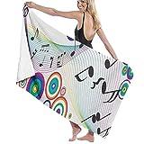 Flimy Na Toalla de Playa Notas Musicales en Color Arco Iris Impreso Toalla de...