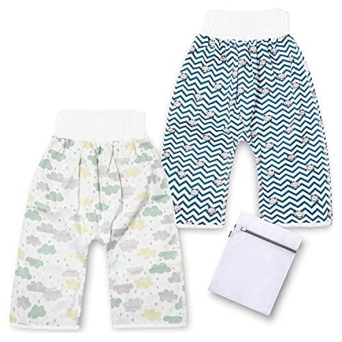 [PICOLOGIO] おねしょ ズボン おねしょ対策 ズボンタイプ 腹巻付き 寝冷え対策 綿 防水 通気 男の子 女の子 2枚入 3-5歳 ウエスト40〜60cm 洗濯ネット付き (セットB)