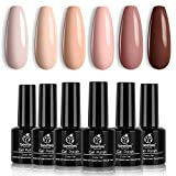 Beetles Gel Polish Set -6 Colors Popular Nude Gel Polish All Seasons Skin Tones Pink Neutral Brown Gel Polish Kit Soak Off LED Gel Nail Kit Manicure DIY Home Gift for Women
