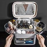 Makeup Organizer Kosmetik-Aufbewahrungsbehälter mit Lampen-Spiegel-Schmuck Integrierte Großvolumige Dresser Cosmetic Rack-Weiß Kosmetischer Organizer Großartig (Color : White, Size : One Size)