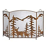 ZJM Fireplace Screens Extra Large Fireplace Screen, Rustic Farmhouse Fire Screen Metal Mesh Screen Curtain with Handles, Easy to Move Around (Color : Antique Copper)