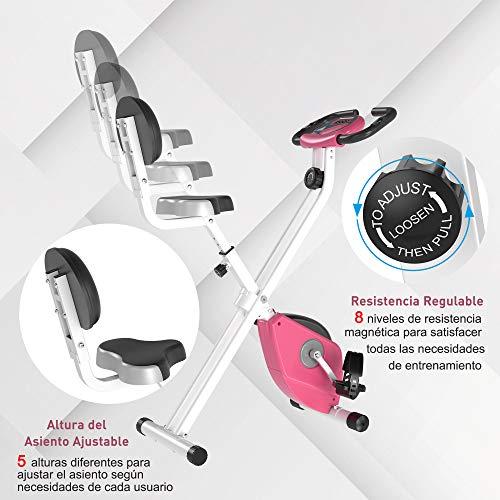 519WIju0GgL - HOMCOM Bicicleta Estática para Ejercicios Profesional Bicicleta Vertical Plegable de Forma X con 8 Niveles Resistencia Magnética Asiento con Altura Ajustable Acero 43x97x109 cm Rosa