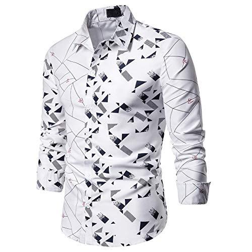MUMU-001 Hawaiian herenhemd blouse streetwear bedrukt lange mouw draaien onder kraag chemicaliën slim fit Social Business jurk shirts