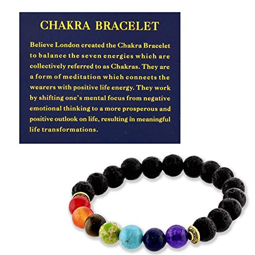 Believe London Chakra Bracelet with Jewellery Bag & Meaning Card | Adjustable Bracelet to Fit Any Wrist | 7 Chakra Natural Stone | Healing Reiki Yoga (6.5 Inch)
