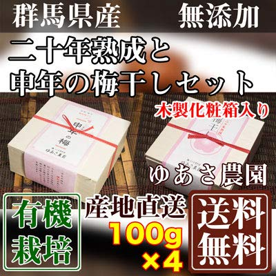 二十年熟成と申年の梅干しセット 各2箱(木製化粧箱入り) 100g×4箱 (群馬県 ゆあさ農園)有機栽培梅 産地直送 ふるさと21