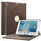 Boriyuan iPad Pro 10.52017用キーボードケース 360°回転するスタンド PUレザー製スマートカバー Apple iPad Pro 10.5インチ (A1701/ A1709)に対応する取り外し可能ワイヤレスBluetoothキーボード付き ブラウン IPAD10.5-360KEYJSW