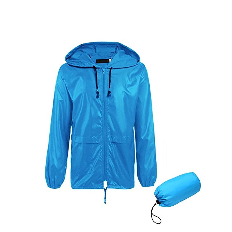 通気性のある 青 ジャケット レインコート フード付き 日焼け止め 防水 レインコート アウトドア 環境保護 耐久性のある レインコート (サイズ : L)