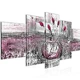 Bilder Abstrakt Blumen Wandbild 200 x 100 cm Vlies - Leinwand Bild XXL Format Wandbilder Wohnzimmer Wohnung Deko Kunstdrucke Rosa Grau 5 Teilig - MADE IN GERMANY - Fertig zum Aufhängen 018751c