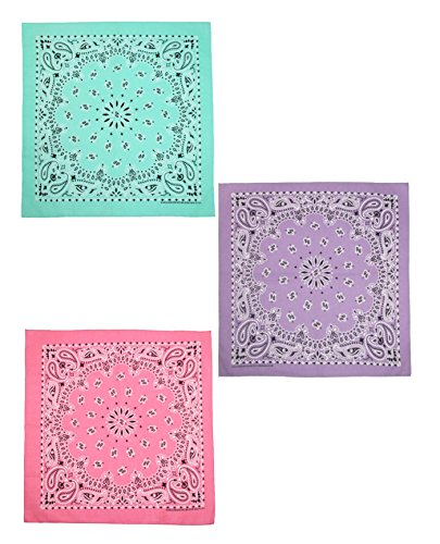 CTM Women's Cotton Pastel Paisley Print Bandana Kit (Pack of 3), Mint, Lavender