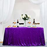 Sequin Tablecloth Rectangle 50x80-Inch Purple Christmas Table Cloth PayetteSequinTablecloth GlitterOverlayTablecloth Oblong SequenceTablecloth Rustic Christmas Tablecloth Shimmer Table Cover