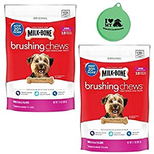 Milk-Bone Original Mini Brushing Chews Daily Dental Dog Treats for Small Dogs – 2 Pack, 7.1 Oz Each – Plus Can Cover (3 Items Total)