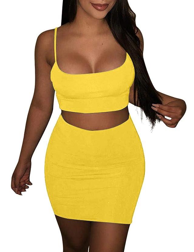 BORIFLORS Women's Sexy 2 Piece Outfits Strap Crop Top Skirt Set Bodycon Mini Dress