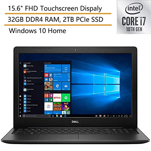 2020 Dell Inspiron 15 15.6' FHD Touchscreen Laptop Computer, 10th Gen Intel Quard-Core i7 1065G7 up to 3.9GHz, 32GB DDR4 RAM, 2TB PCIe SSD, Black, Windows 10, iPuzzle Mouse Pad
