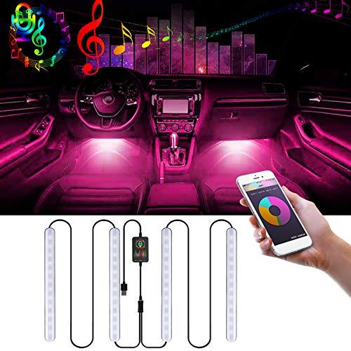 iMeshbean Auto LED Innenbeleuchtung, 4x12 Innenbeleuchtung LED Atmosphäre Licht RGB Ambientebeleuchtung Auto mit APP, Mehrfarbige LED Streifenleuchte mit USB Port und Musik Steuerbar