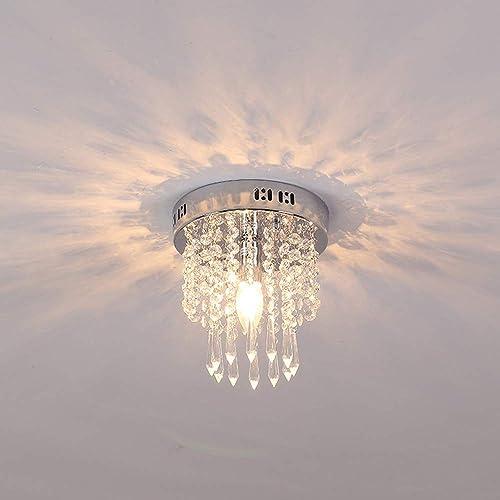 HIL Rond Plafonnier En Cristal K9, Lustre Minimaliste Moderne En Acier Inoxydable LED Utilisé Dans Le Salon Couloir Couloir Escalier Porche Garçon Chambre Fille 30  20CM G9  3