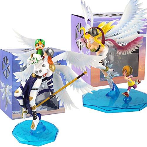 Qwead 2Pcs Anime Digimon Abenteuer Angemon Angewomon Aktion Figur 24Cm, Takaishi Takeru Yagami Hikari PVC Modell Spielzeug Sammlerpuppen