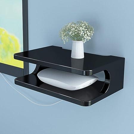 Étagère flottante meuble de télévision meuble étagère console de télévision étagère de routeur boîtier de décodeur DVD rack de stockage de téléphone, multicolore en option (Couleur : Noir)