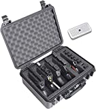 Case Club 5 Pistol and 20 Magazine Pre-Cut Heavy Duty Waterproof Case with Included Silica Gel Canister to Help Prevent Gun Rust (Upgraded Gen-2)