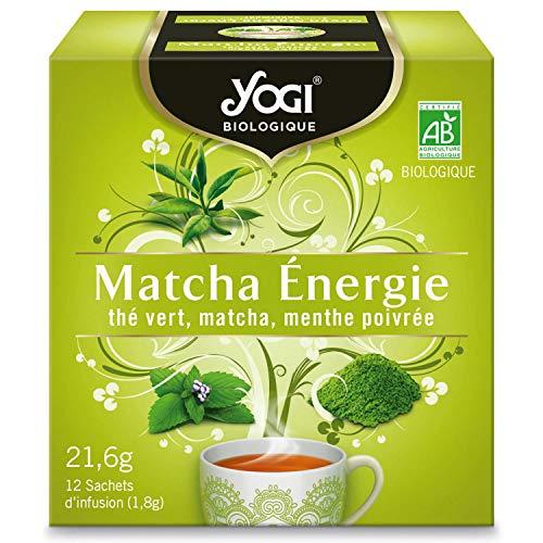 Yogi Biologique Matcha Énergie, Thé Vert 100% Bio Matcha et Menthe Poivrée, 12 Sachets thermosoudés et sans agrafe, 21.6 g, 310911