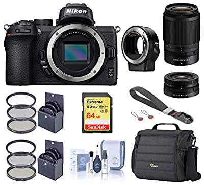Nikon Z 50 DX-Format Mirrorless Camera with 16-50mm and 50-250mm VR Lens, Essential Bundle with FTZ Mount Adapter, Case, Filter Kits, 64GB SD Card, Wrist Strap, Cleaning Kit from Nikon