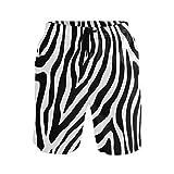Hunihuni - Costume da Bagno da Uomo, con Stampa zebrata, Fodera in Rete con Tasca Multicolore XL