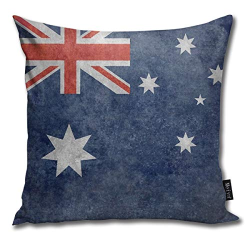 BwwoBing Throw Kussenhoes voor slaapbank, sofa, woondecoratie, vintage, The National Flag of Australia, retro patroon vierkant 18 x 18 inch 45 x 45 cm