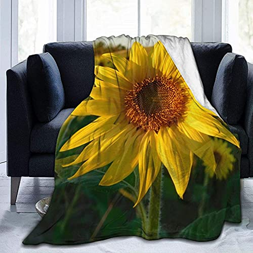 Ultra Soft Micro Fleece Durable Blooming Sunflower Throw Blankets Soft Warm Blanket Sheet for Bed Bedding Sofa Office Living Room Home Decor-50*60in